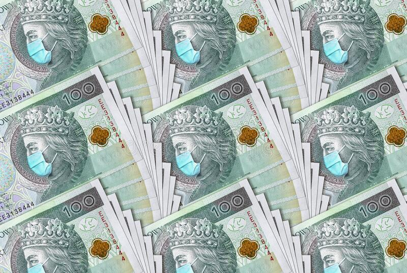 100 Polish zloty banknote with a face mask against Covid19. Coronavirus in Poland. Quarantine and global recession. 100 Polish zloty banknote with a face mask royalty free stock photography
