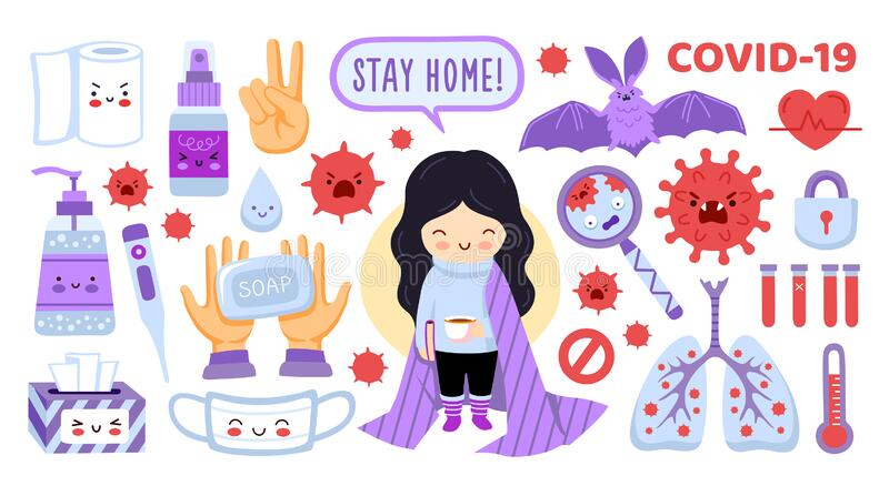 Coronavirus protection elements set. Girl staying home, mask, sanitizer, antiseptic. Symptoms and prevention stickers. Collection. Covid-19 flat vector stock illustration