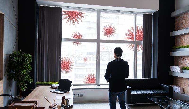 Coronavirus quarantine concept at lockdown. Businesman looking at corona viruses at street, staying at office. Coronavirus quarantine concept. Businesman looking royalty free stock photos