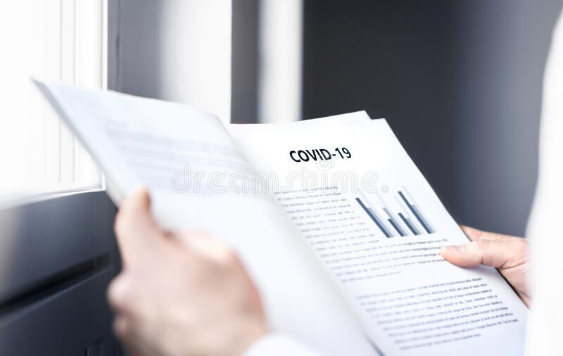 Coronavirus report about patient information or covid 19 impact on business finance market. stock photo