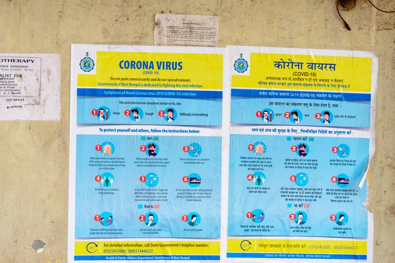 Coronavirus Safety Awareness Disease Control and Prevention slogan Poster on city street wall showing symptoms, Do's and Don'. Ts Practices Related to stock images