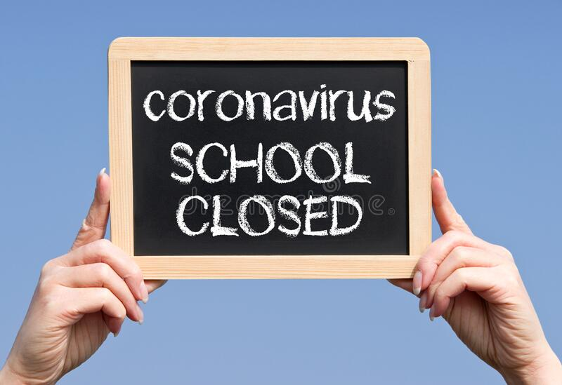 Coronavirus chalkboard with text, school closed royalty free stock images