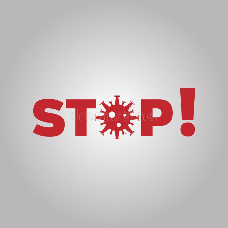 Coronavirus stoppen Coronavirus-Ausbruch Pandemic medical concept with dangerous cells Vector-Illustration lizenzfreie abbildung