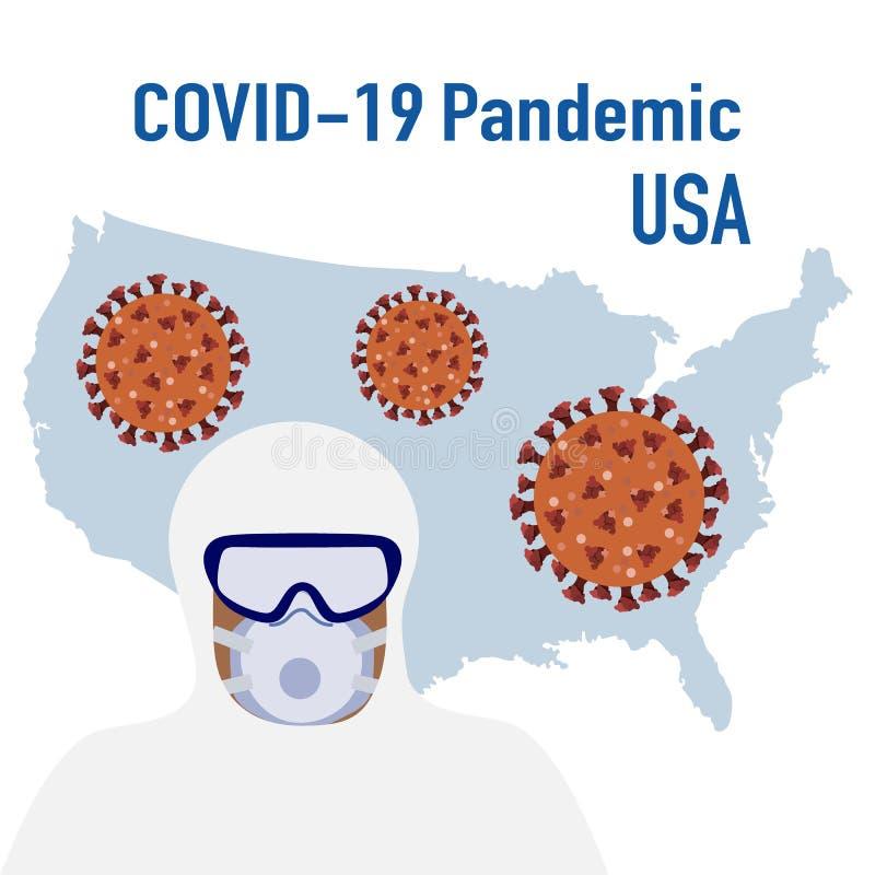 Coronavirus USA Quarantine Pandemic Doctor Health stock abbildung