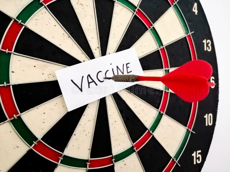 Coronavirus vaccine arrow in target stock photography