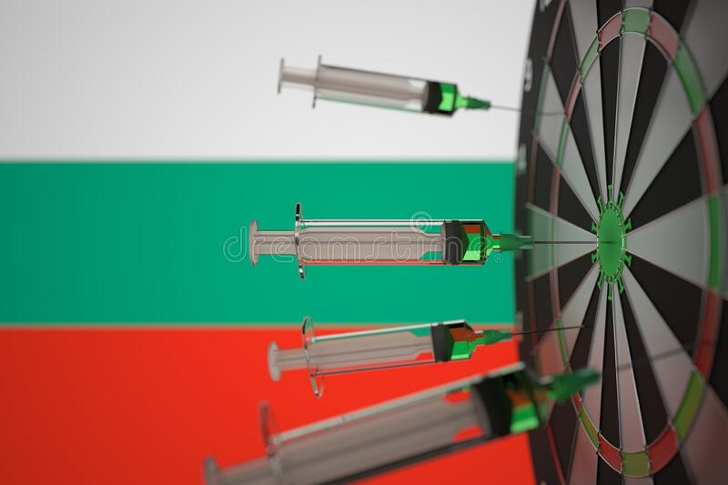 Coronavirus vaccine syringes on the Bulgarian flag background. Medical research and vaccination in Bulgaria, 3D stock photo