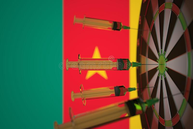 Coronavirus vaccine syringes on the Cameroonian flag background. Medical research and vaccination in Cameroon, 3D royalty free stock images