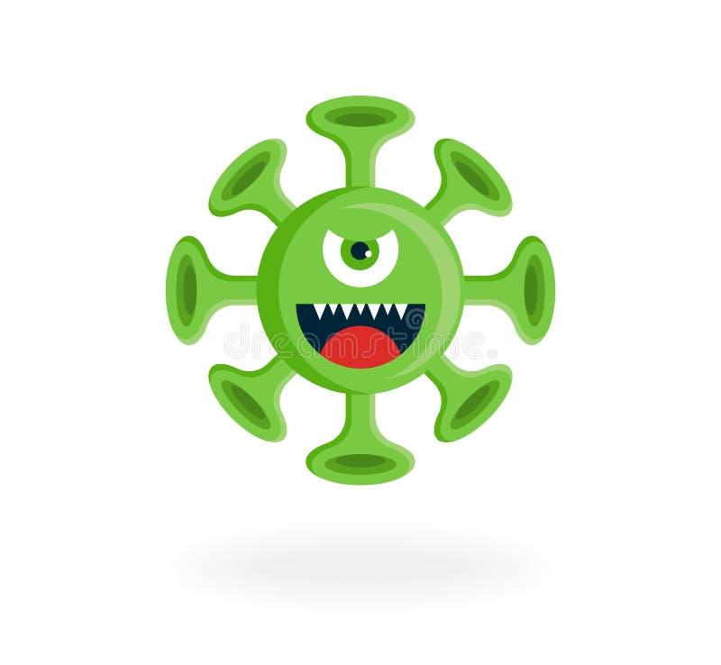 The Cartoon Character Of The Cute Covid-19 Virus Stock