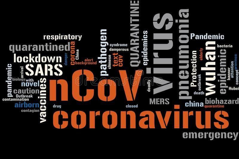 Word cloud. Virus Epidemic Background Concept Word Cloud royalty free illustration