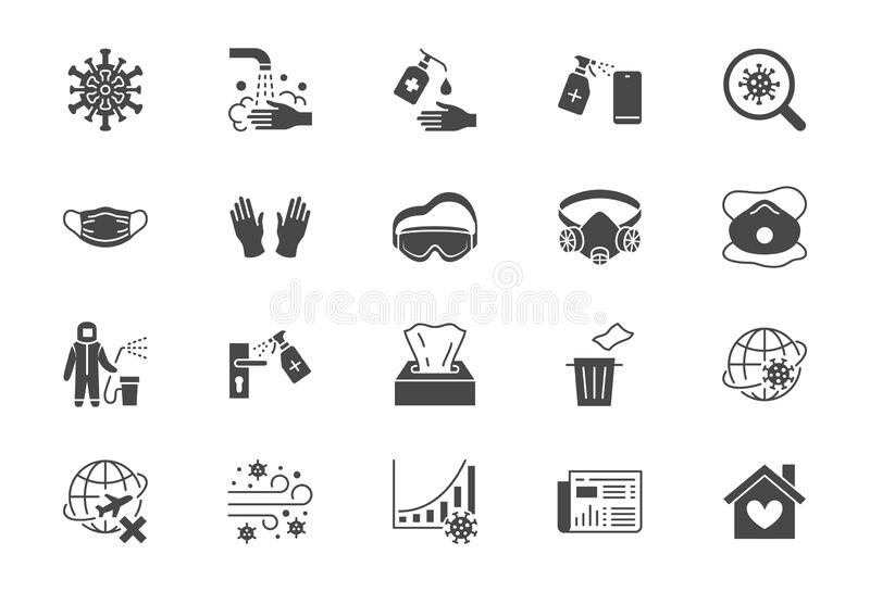 Coronavirus, virus prevention flat icons. Vector illustration include icon - wash hands disinfection, face mask. Sanitizer gloves black silhouette pictogram royalty free illustration