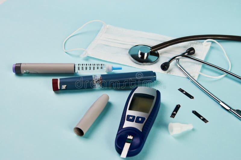 Coronavirus vormt het grootste risico voor diabetes stock afbeelding
