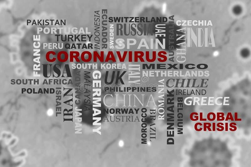 Coronavirus word cloud. Word cloud of various nations and the word Coronavirus vector illustration