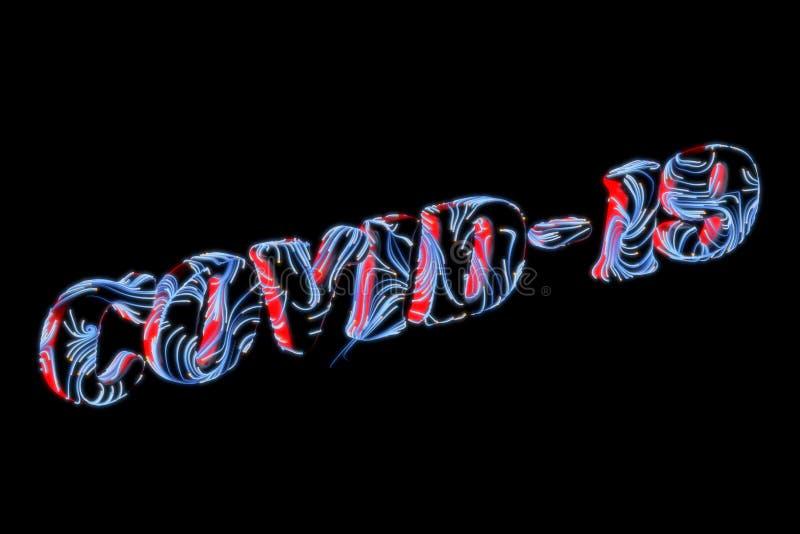 Coronavirus Wuhan, chiński napis COVID-19, wykonany z liter z błyszczącymi niebieskimi nici wirusa Epidemia ilustracja wektor