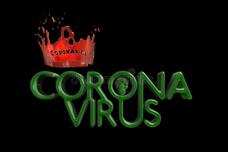 Coronavirus Wuhan, chiński napis COVID-19 z czerwoną koroną wykonaną z krwi i stylizowanej czaszki Epidemia 3d royalty ilustracja