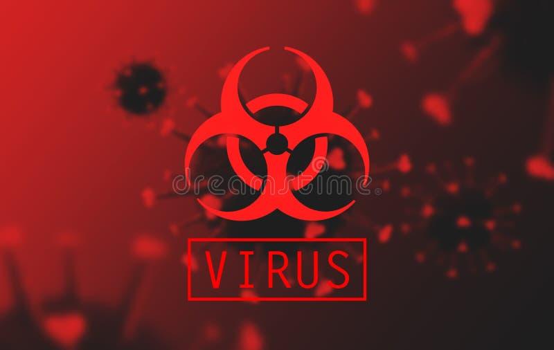 Coronaviruscell med biofarotecken vektor illustrationer
