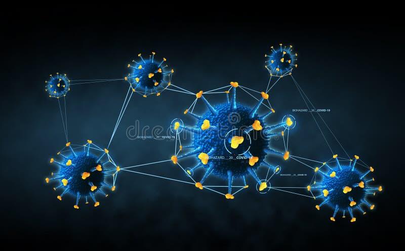 Coronavirusceller i mörkblå bakgrund royaltyfri illustrationer