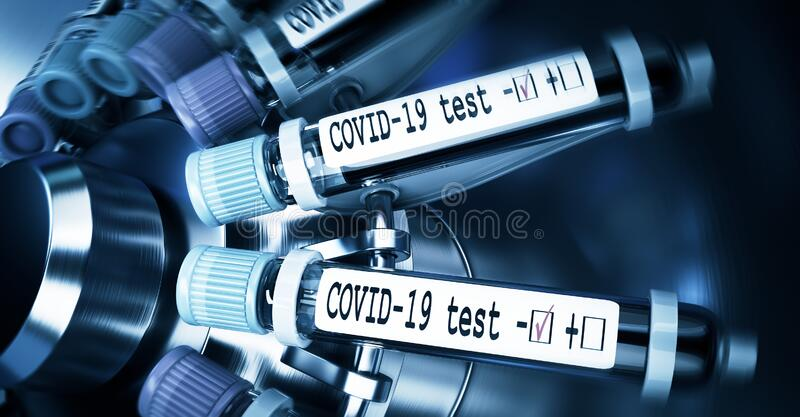 Coronaviruses research, conceptual illustration. Negative COVID-19 test and laboratory sample of blood tasting for stock photography