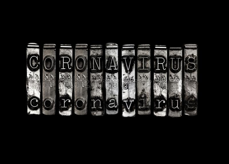 Coronavrius concept type on black stock photo
