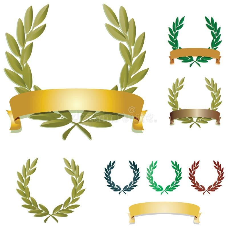 Corone dell'alloro royalty illustrazione gratis