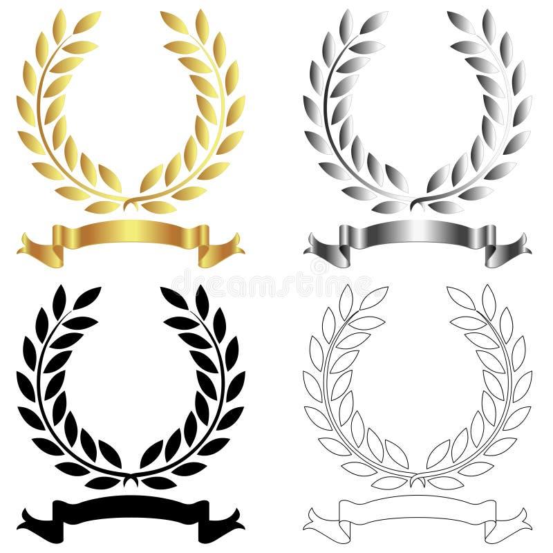 Corone dell'alloro con le insegne su fondo bianco royalty illustrazione gratis