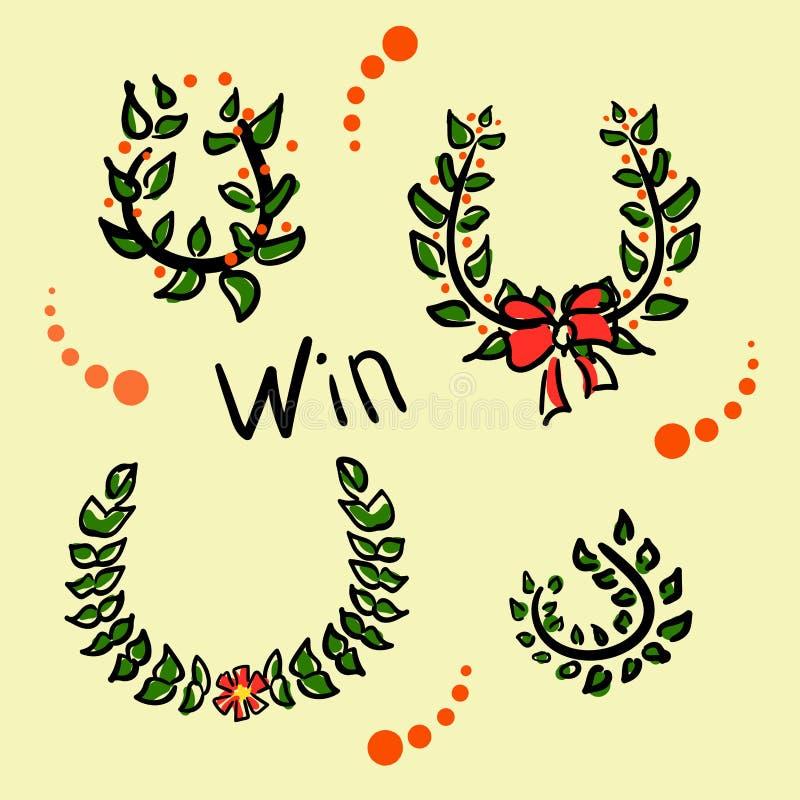 Corone della raccolta per il campione Disegni divertenti nello stile di uno schizzo Rami dell'alloro o foglie verde oliva per illustrazione di stock