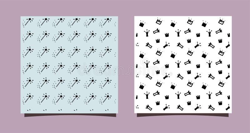 Corone di scarabocchio e bastone magico Reticolo senza giunte disegnato a mano Piccolo progettazione di principessa per la parete illustrazione vettoriale