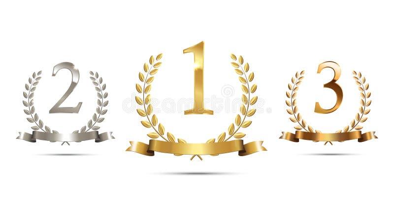 Corone dorate, d'argento e bronzee dell'alloro con i nastri e gli in primo luogo, secondi e terzi segni del posto isolati su bian illustrazione vettoriale