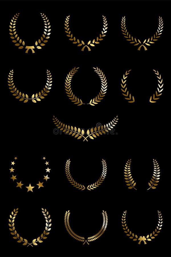 Corone dorate dell'alloro isolate su fondo nero Elementi di disegno di vettore illustrazione vettoriale