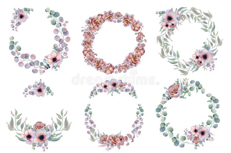Corone floreali dell'acquerello con il nastro per il vostro testo Bandiera floreale Invito di cerimonia nuziale fotografia stock