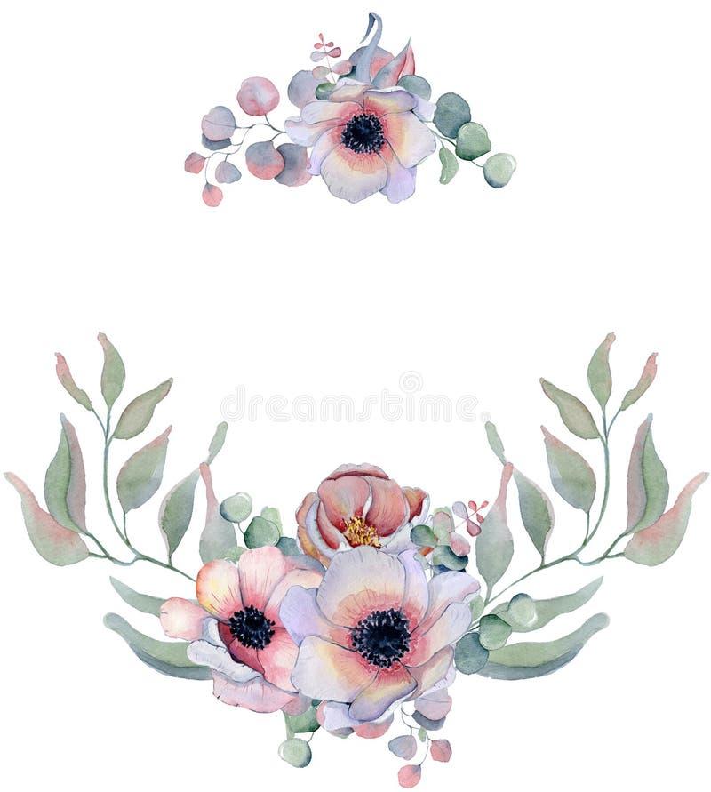 Corone floreali dell'acquerello con il nastro per il vostro testo Bandiera floreale Invito di cerimonia nuziale royalty illustrazione gratis