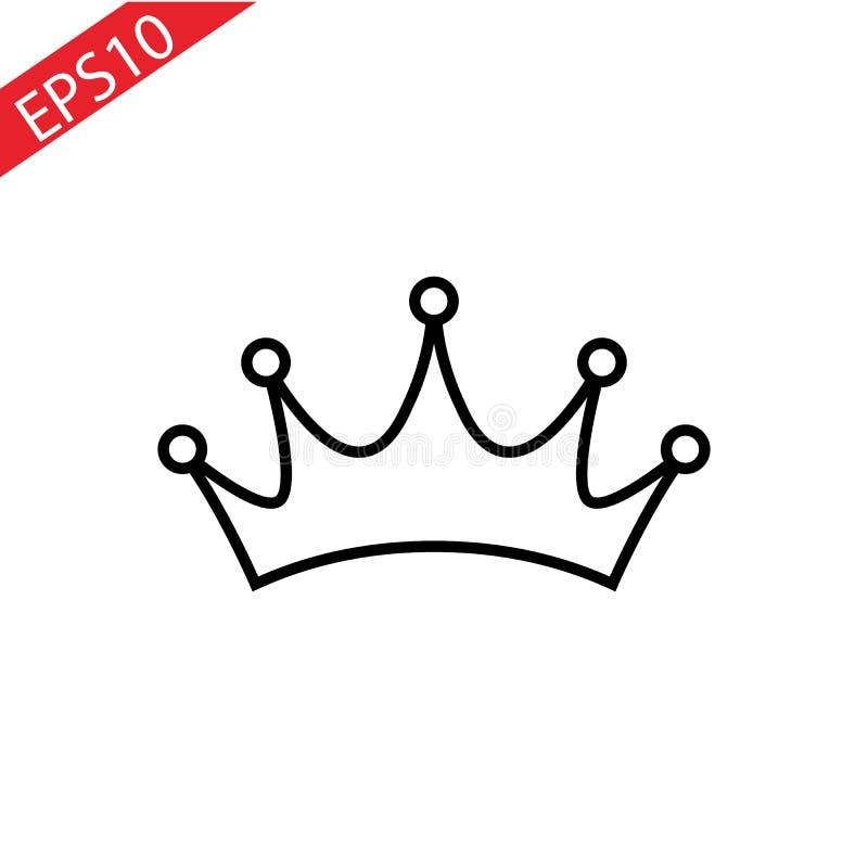 Corone la línea icono, muestra del vector del esquema, pictograma linear del estilo aislado en blanco Símbolo del VIP, ejemplo de stock de ilustración