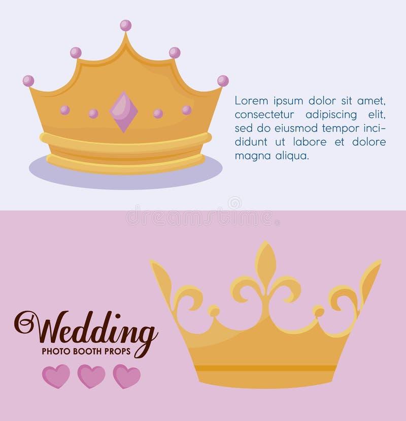Corone monarchiche stabilite della regina e di re illustrazione vettoriale