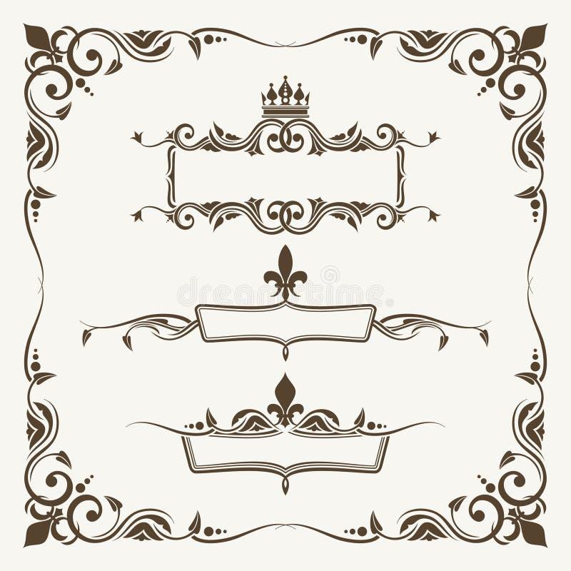 Corone reali e strutture decorate di giglio illustrazione di stock