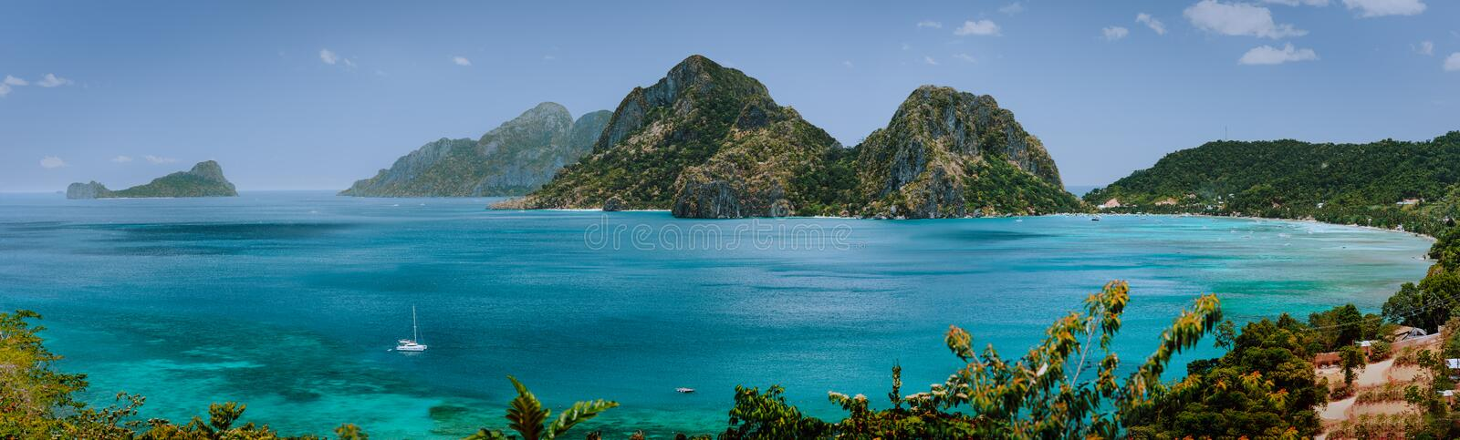 Corong Corong Beach, El Nido, Palawan, Philippines amazing nature, panorama view from above. Tropical evergreen islands royalty free stock photo