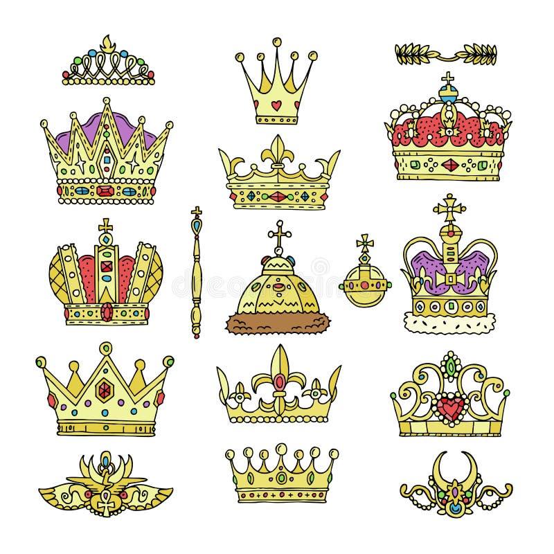 Coroni il simbolo reale dorato dei gioielli di vettore del segno dell'illustrazione della regina e di principessa di re dell'insi illustrazione di stock