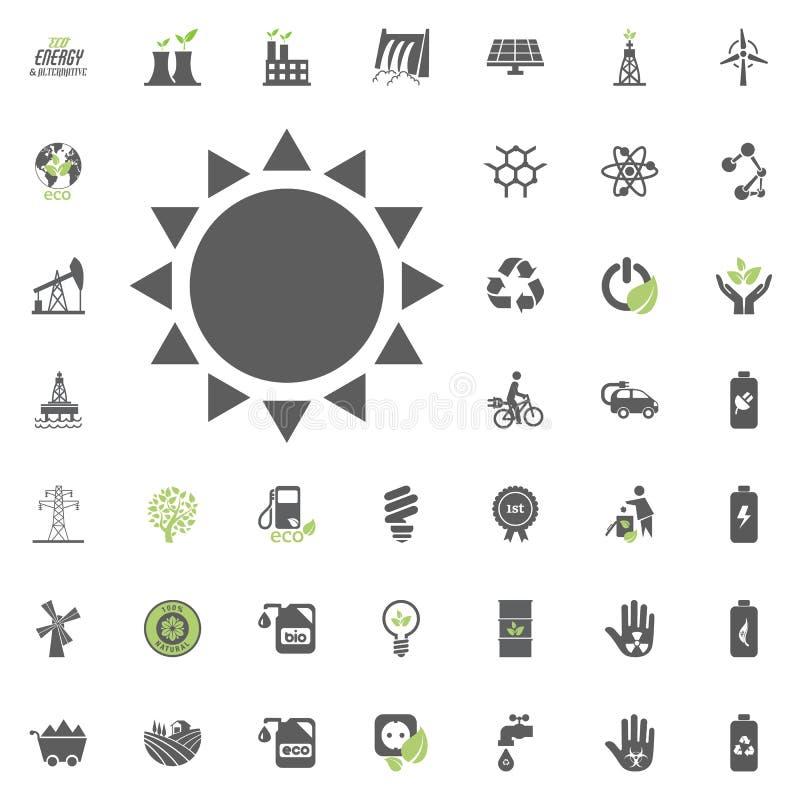 Coror knappuppsättning Uppsättning för Eco och för alternativ energi vektorsymbol Vektor för uppsättning för resurs för makt för  vektor illustrationer