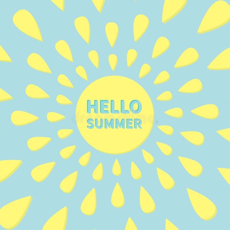 Coror knappuppsättning yellow för ljusa strålar Glänsande objekt för gullig tecknad film Hello sommartext background card congrat stock illustrationer