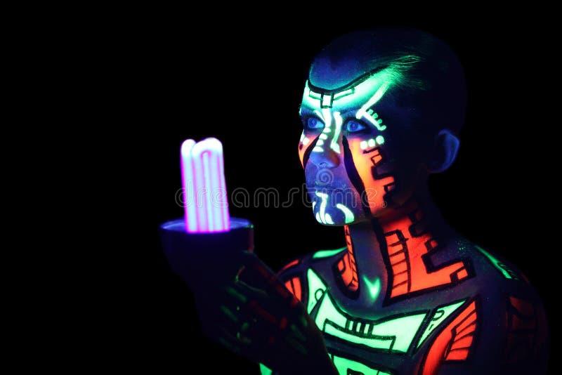 Corpo-arte de néon imagens de stock royalty free