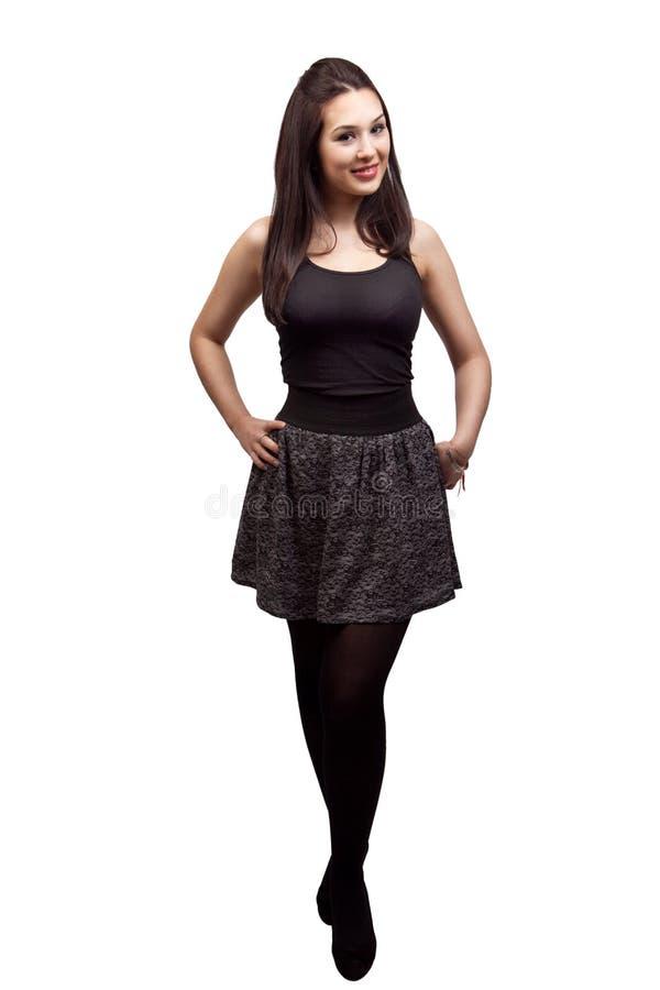 Corpo cheio da mulher magro 'sexy' isolada no branco imagens de stock royalty free