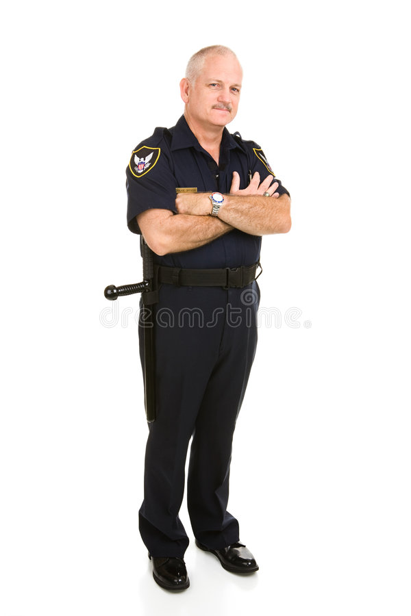 Corpo cheio do oficial de polícia imagens de stock