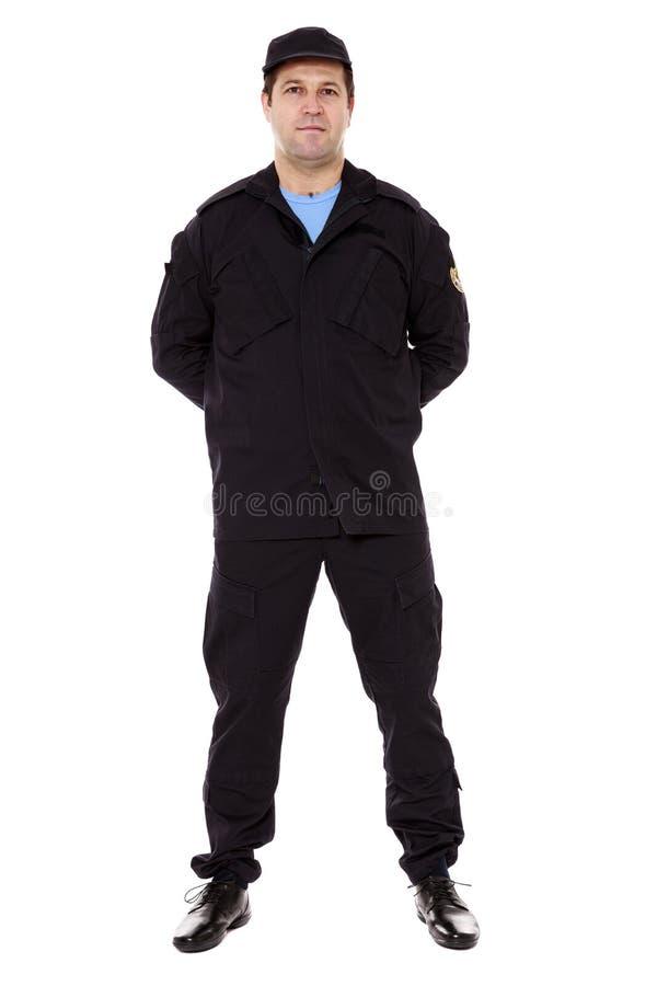 corpo completo do agente de segurança isolado no branco foto de stock