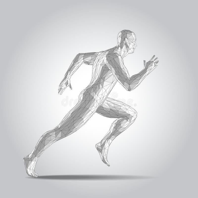 corpo 3D humano poligonal Figura running do velocista no fundo branco ilustração do vetor