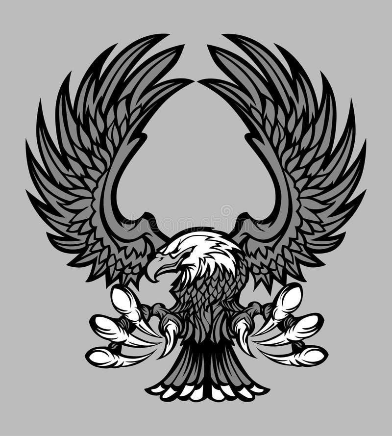 Corpo da águia e logotipo da mascote das garras ilustração royalty free