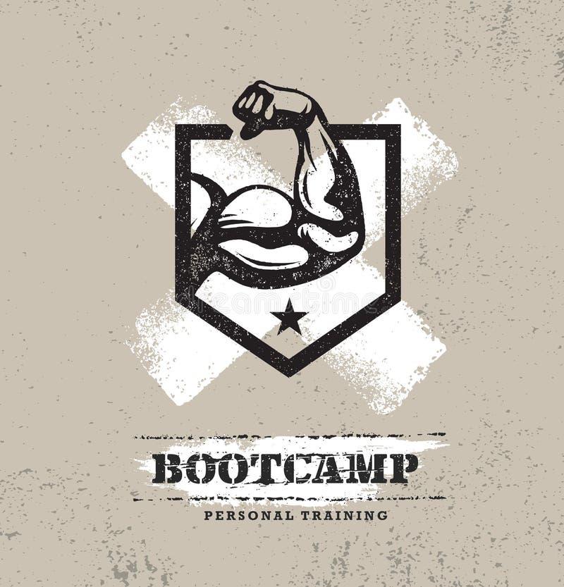 Corpo da aptidão que treina o conceito áspero exterior do vetor de Bootcamp do esporte extremo Elementos Textured criativos do pr ilustração stock