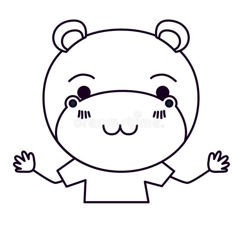 Corpo da caricatura da silhueta do esboço meio da expressão bonito da felicidade do hipopótamo com t-shirt ilustração do vetor