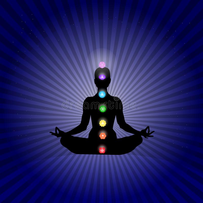 Corpo de Famale no asana da ioga com os sete chakras em cores de néon de brilho na obscuridade dos raios - as estrelas azuis espa ilustração stock