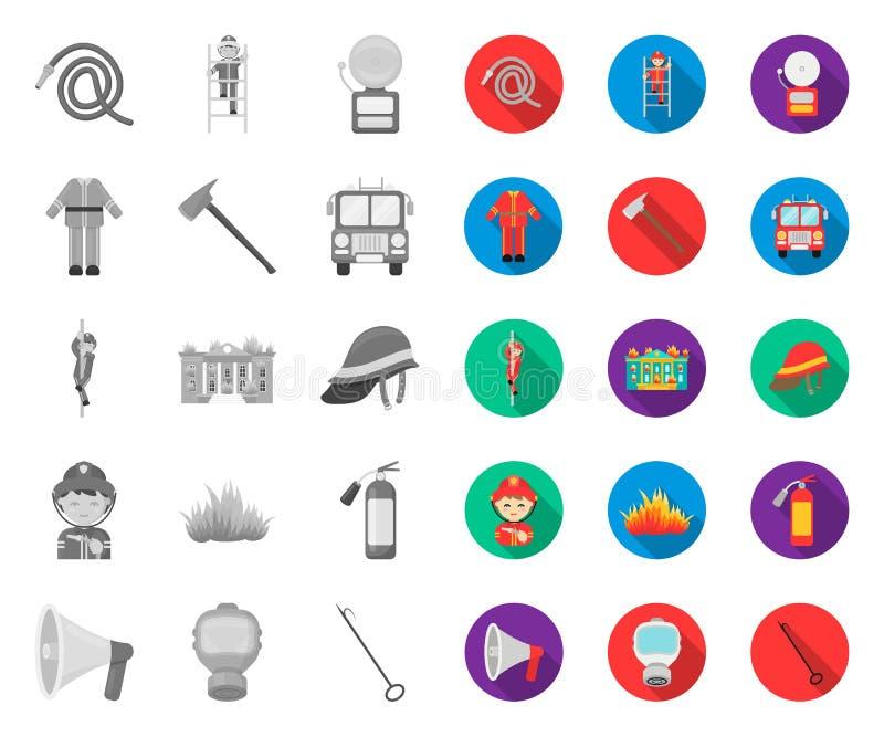 Corpo dei vigili del fuoco mono, icone piane nella raccolta stabilita per progettazione Pompieri e web delle azione di simbolo di illustrazione di stock