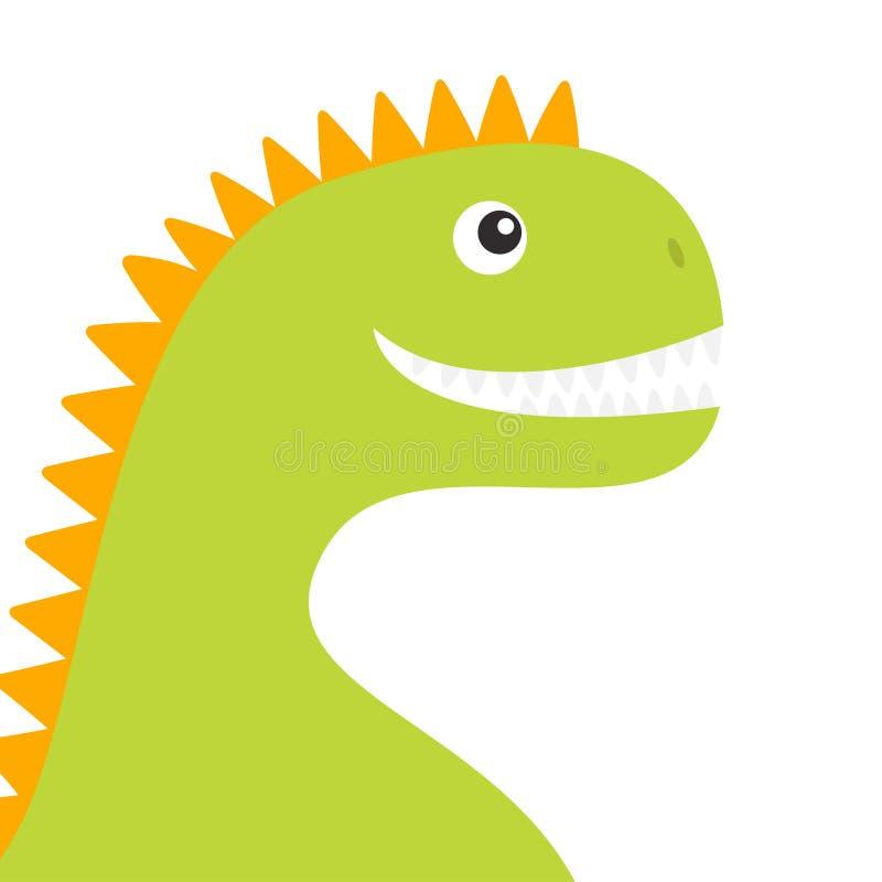 Corpo del fronte del dinosauro Carattere divertente del bambino di Dino del fumetto sveglio Progettazione piana Colore verde ed a illustrazione vettoriale