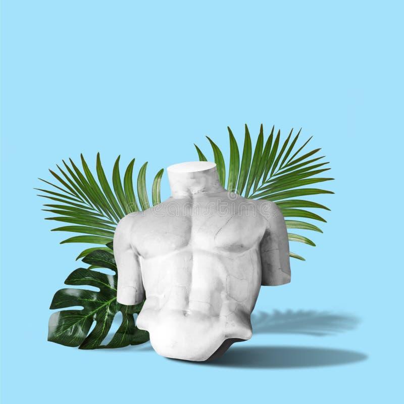 Corpo della statua con le foglie di palma su fondo blu Concetto minimo di fantasia di arte immagini stock