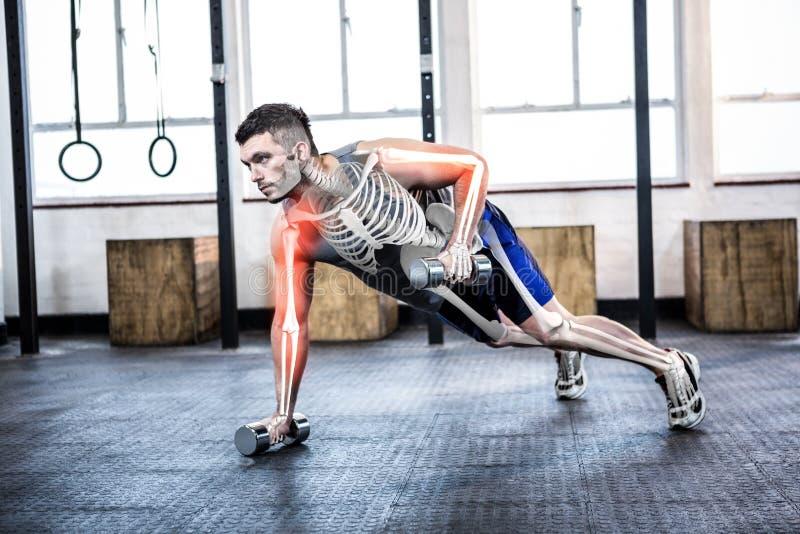 Corpo destacado do homem forte que levanta peso no gym foto de stock
